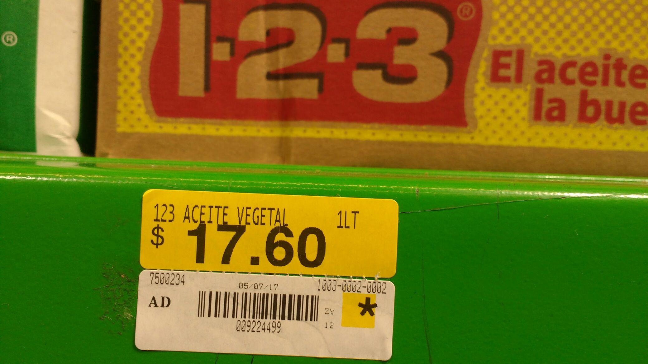 Bodega Aurrerá: Aceite 123 1 litro a $17.60