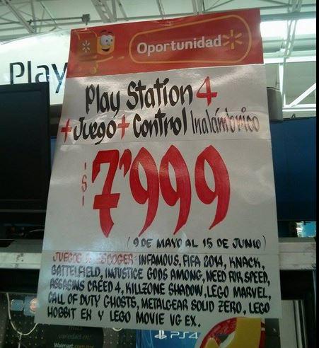 Walmart: PlayStation 4 con dos controles y juego a elegir $7,999 y 12 MSI