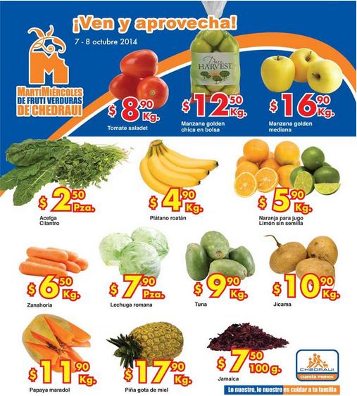 Ofertas de frutas y verduras en Chedraui 7 y 8 de octubre