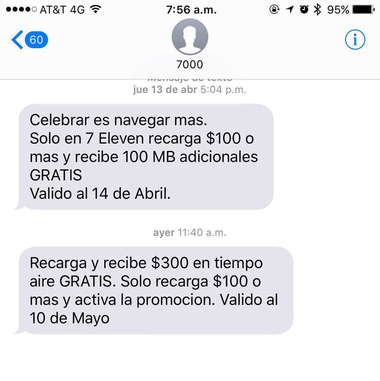 7 Eleven: $300 en recarga de $100 AT&T