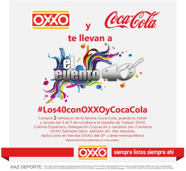 2 boletos gratis para el concierto Evento 40 (Los 40 Principales) comprando $50 de Coca Cola en Oxxo