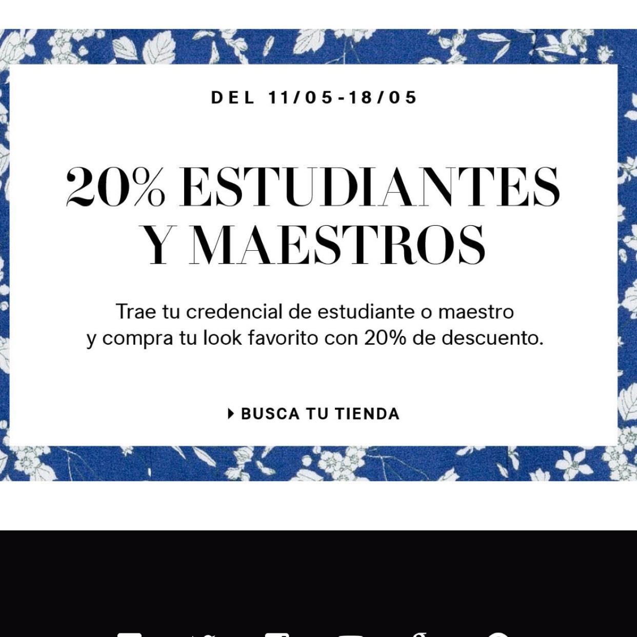 H&M: 20% de descuento estudiantes y maestros presentando credencial en tienda