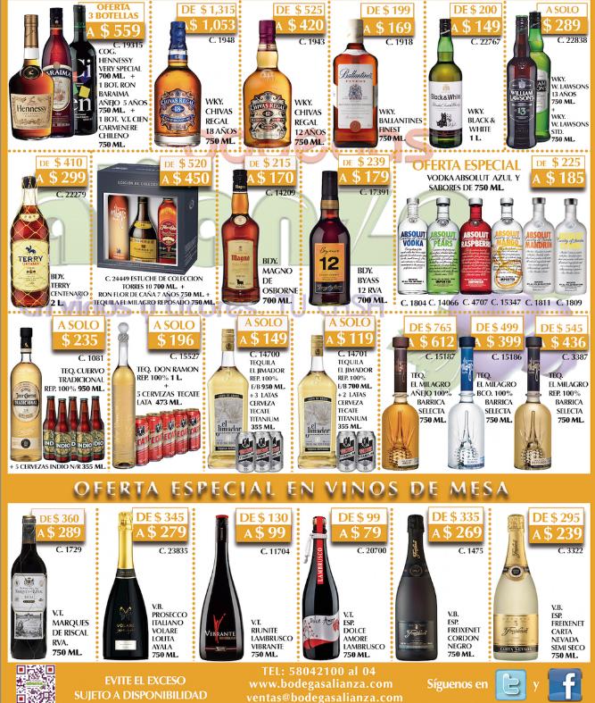 Bodegas Alianza: Hennessy + ron Baraima + vino tinto $559, 2 botellas de wshisky William Lawsons $319 y más