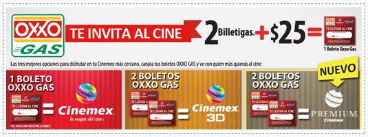 Cinemex: 2x1 usando boleto de oxxo gas (Solo Miércoles)