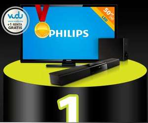 "Walmart: pantalla LED 50"" + barra de sonido Phillips $7,990"