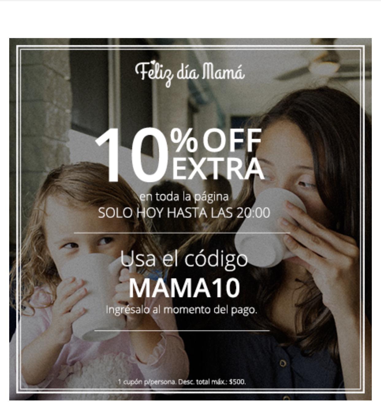Groupon: Te queremos mamá: 10% off extra en todo el sitio