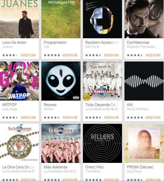 Google Play: discos de Daft Punk, David Guetta, Lady Gaga, Alejandro Fernández y más a $10