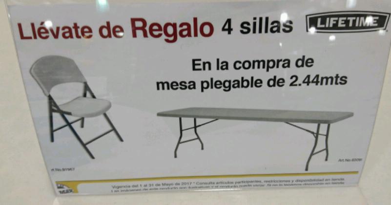 Office Max Mérida: Compra mesa plegable Lifetime 2.44m y de regalo 4 sillas