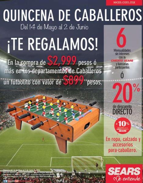 Sears: 20% de descuento en ropa de hombre y futbolito gratis con compa mínima