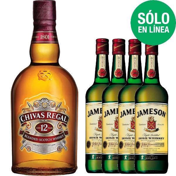 La Europea: WHISKY CHIVAS REGAL 12 AÑOS 750 ML + 4 JAMESON 200 ML
