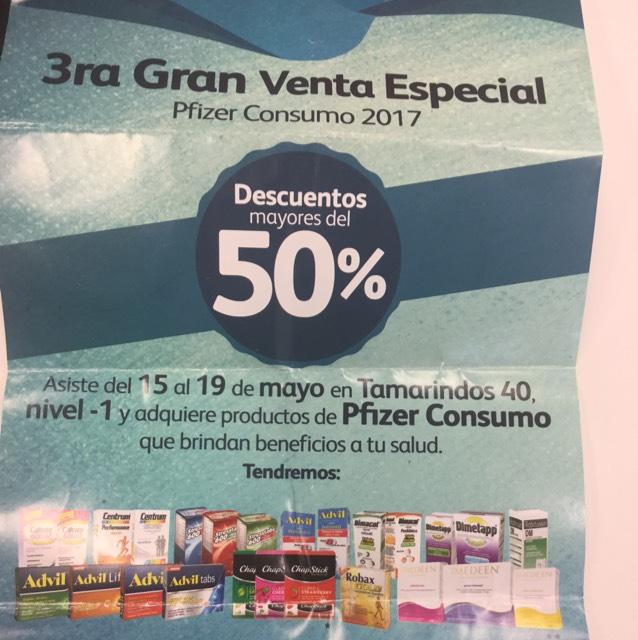 Pfizer consumo: Descuentos en productos sin receta (Santa Fé CDMX)