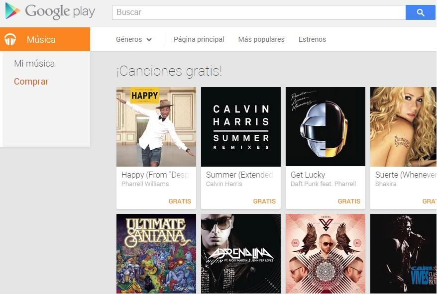 Canciones gratis en Google Play.