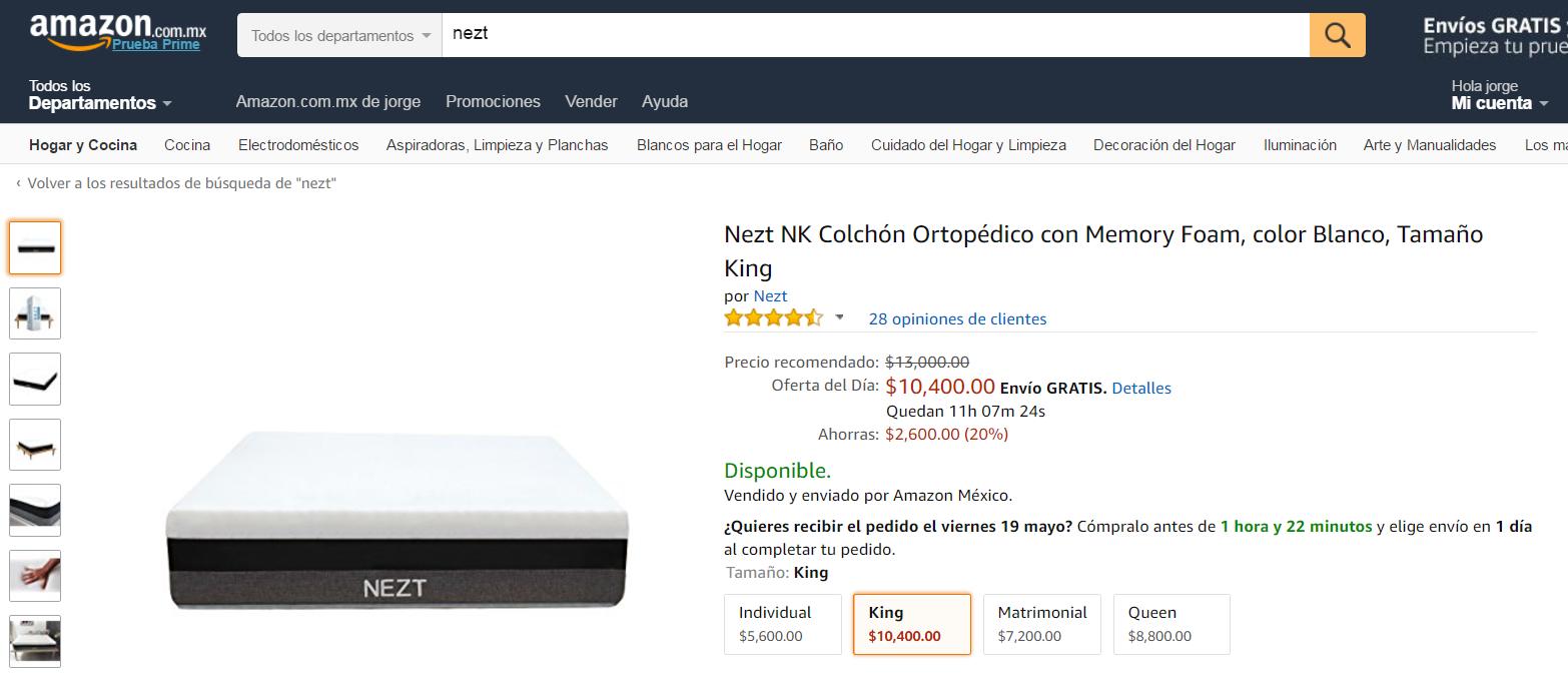 Amazon: Colchones Nezt  en oferta, Nezt NK Colchón Ortopédico con Memory Foam