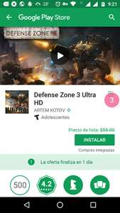 "Google Play :""Defense Zone 3 Ultra HD"". Gratis"