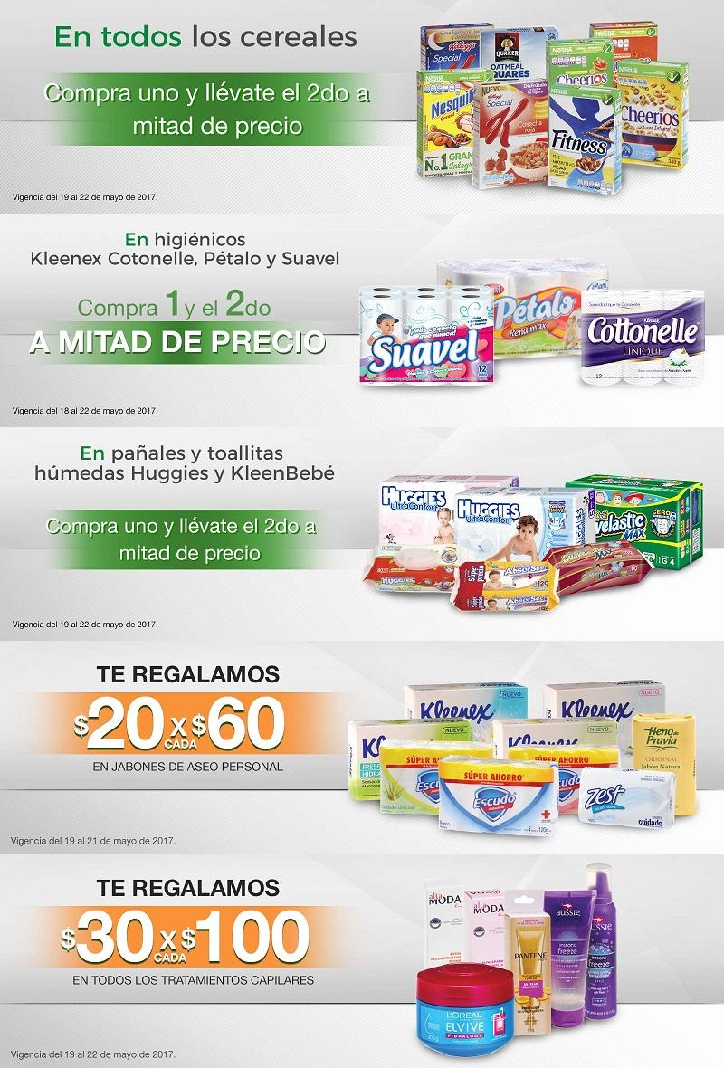 Comercial Mexicana y Mega: 2 x 1½ en cereales, en higiénicos y en pañales y toallitas húmedas; $20 desc. x cada $60 en jabones de aseo personal; $30 desc. x cada $100 en tratamientos capilares