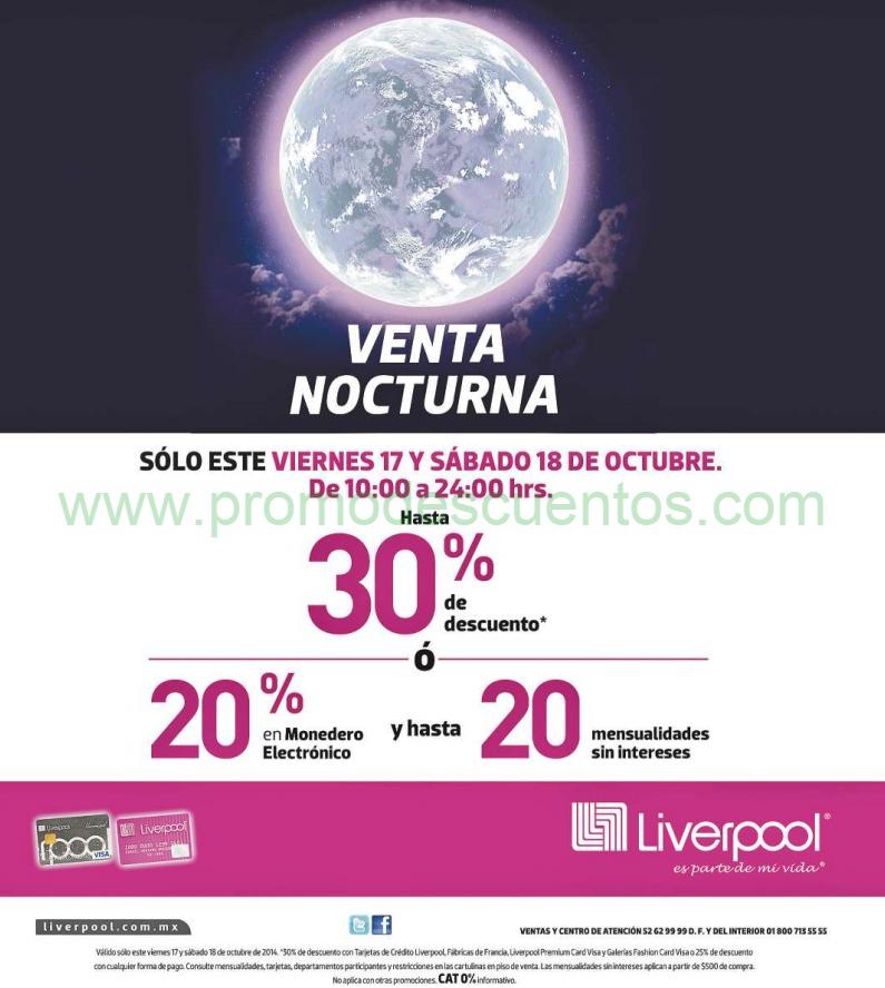 Liverpool: venta nocturna de aniversario 17 y 18 de octubre