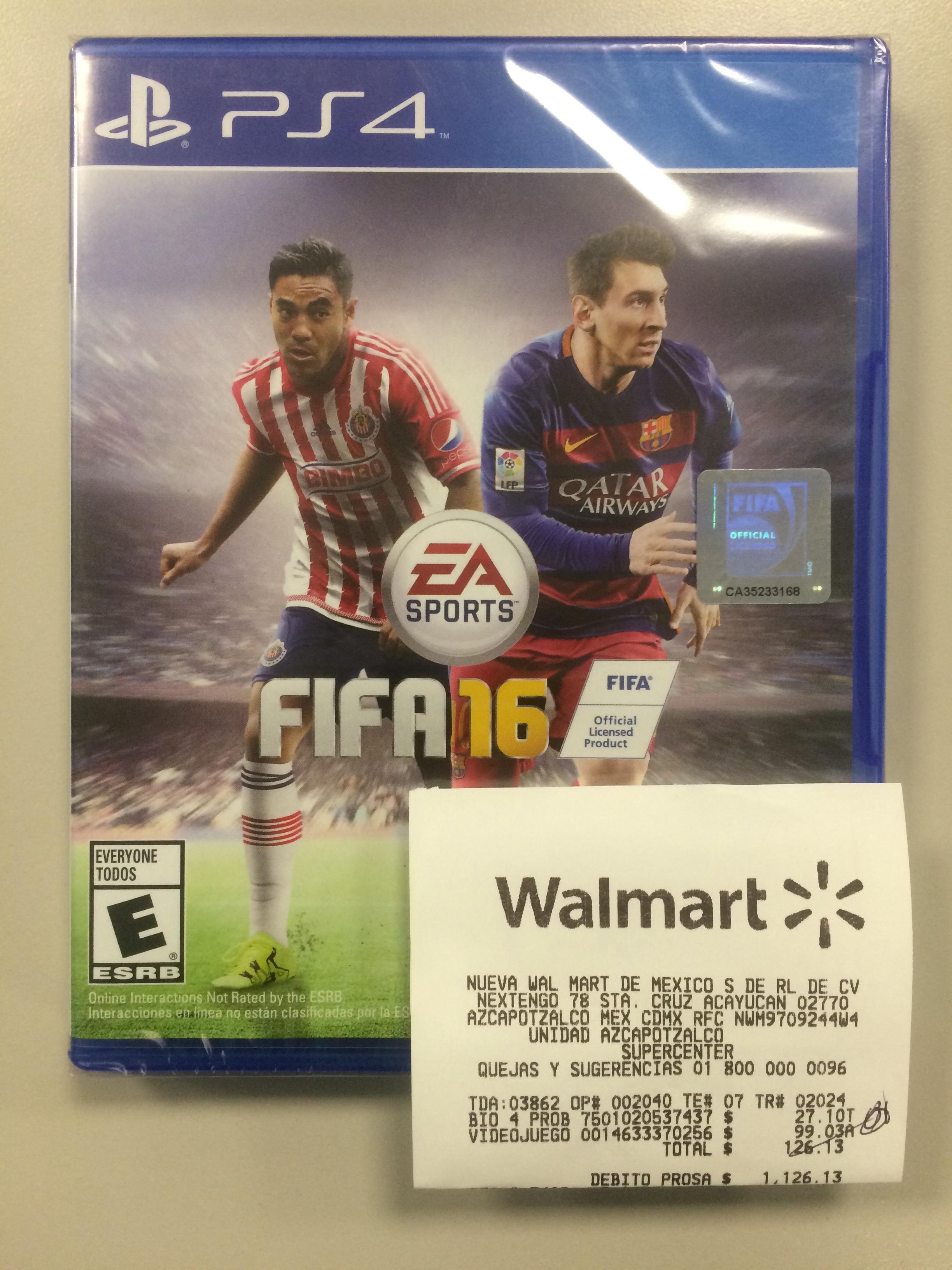 Walmart Azcapotzalco: FIFA 16 PS4 a $99.03