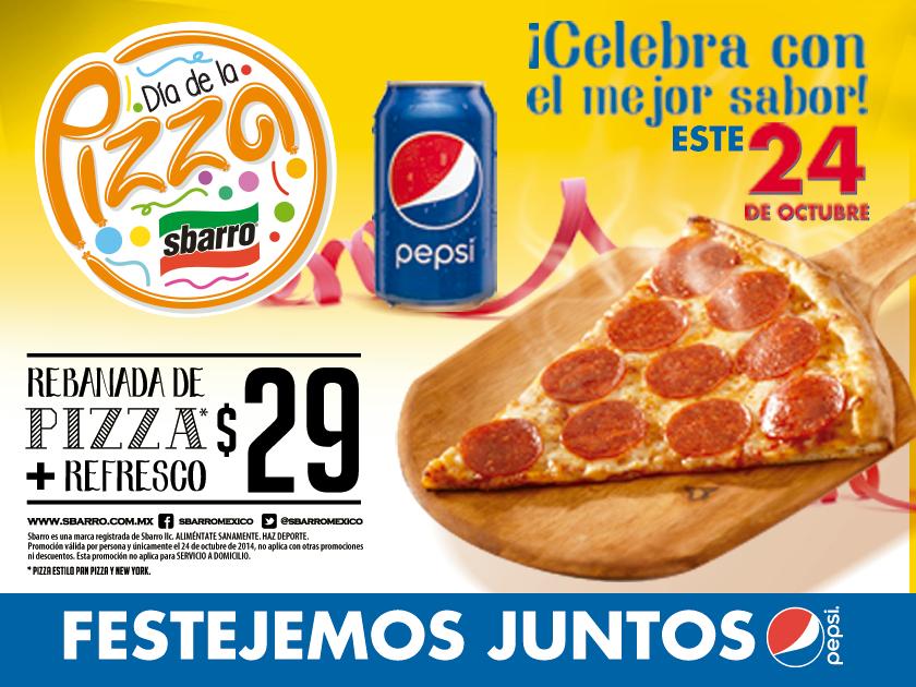 Día de la pizza en Sbarro octubre 24
