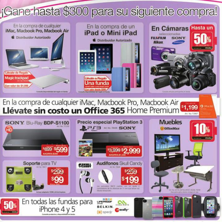 OfficeMax: blu-ray Sony $599, soporte para tele $99. Office 365 $799 comprando compu y más