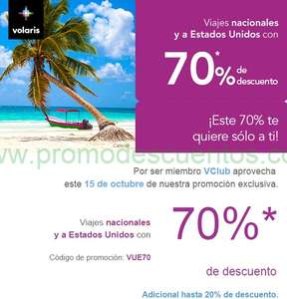 Volaris: 70% de descuento para viajar de octubre 2014 a junio 2015
