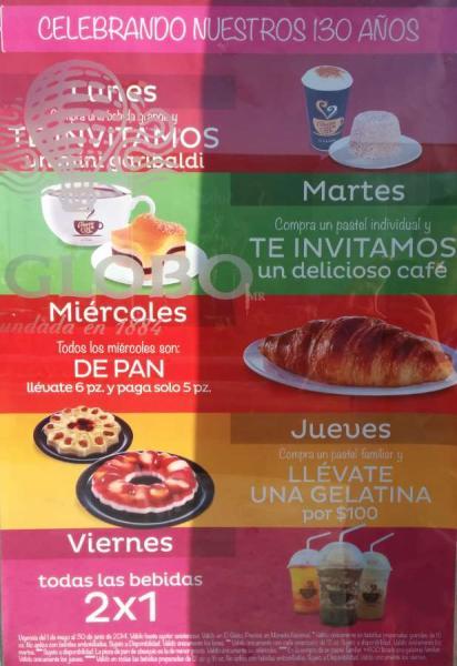 Promociones aniversario pastelerías El Globo