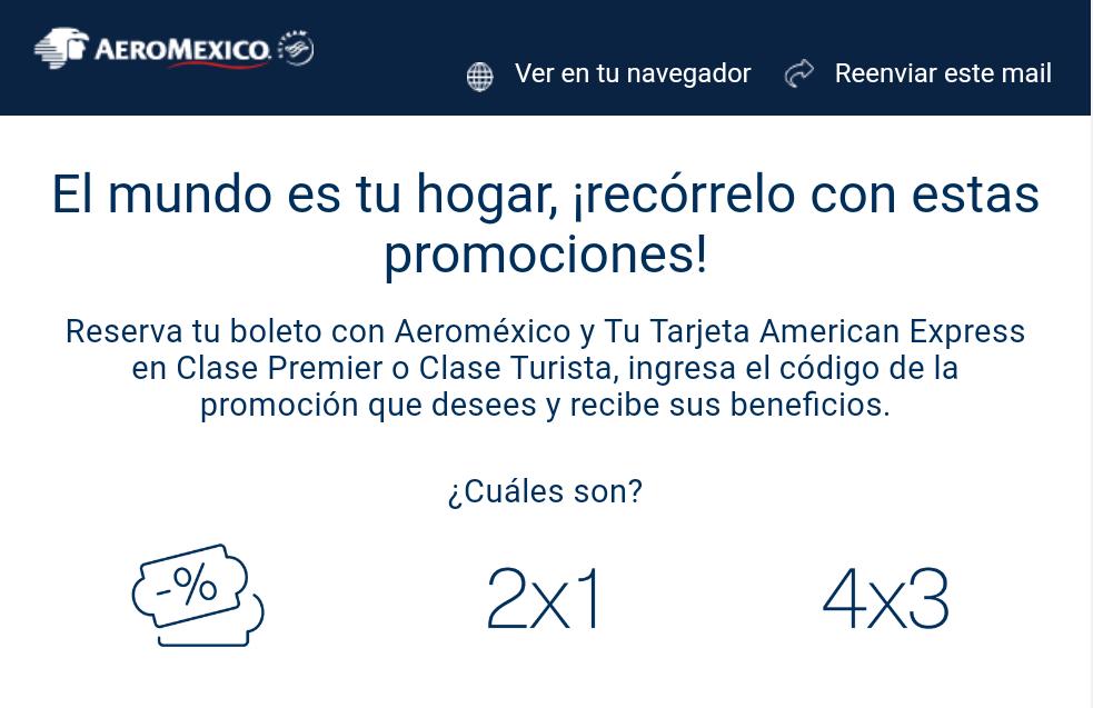 AeroMéxico: Vuelos al 2x1, 4x3 y descuentos