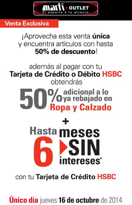 Martí Outlet: 50% de descuento y 6 MSI con Tarjeta de crédito HSBC