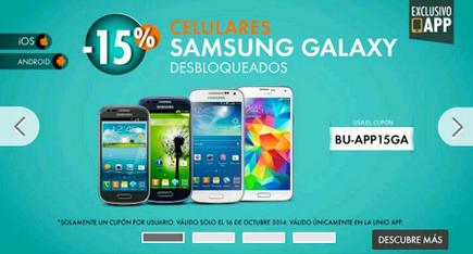 Linio: 15% en celulares Samsung Galaxy desbloqueados desde la app