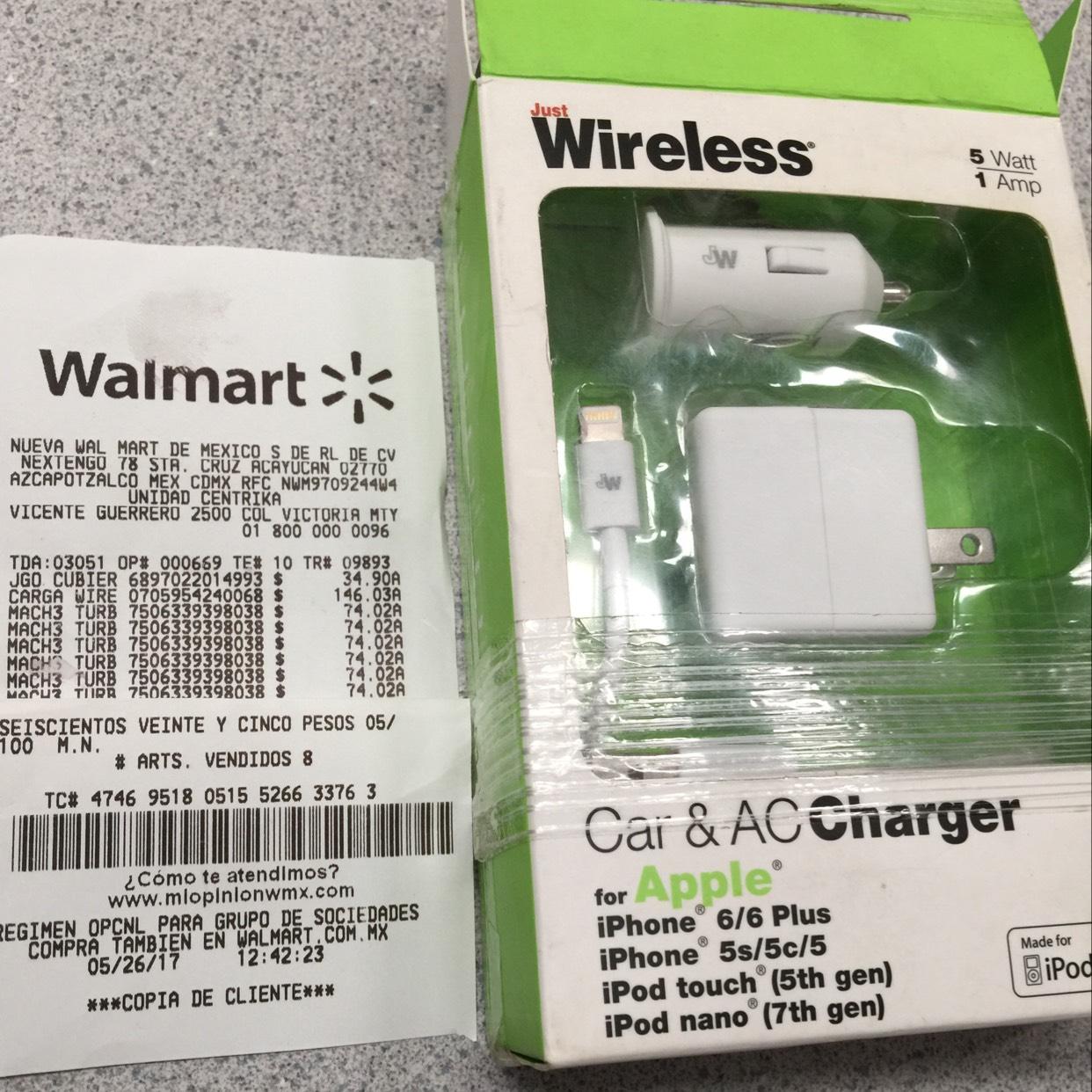 Walmart Centrika: APPLE Cargador casa y carro con cable a $146.03