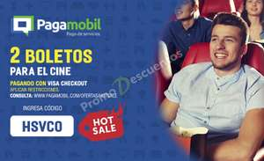 Promoción del Hot Sale 2017 en Pagamobil: 2 boletos de Cinépolis pagando con Visa Checkout