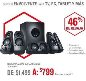 RadioShack: bocinas Logitech Z506 Surround Sound 5.1 $799
