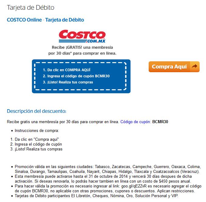 Costco: membresía de 30 días online gratis con Bancomer