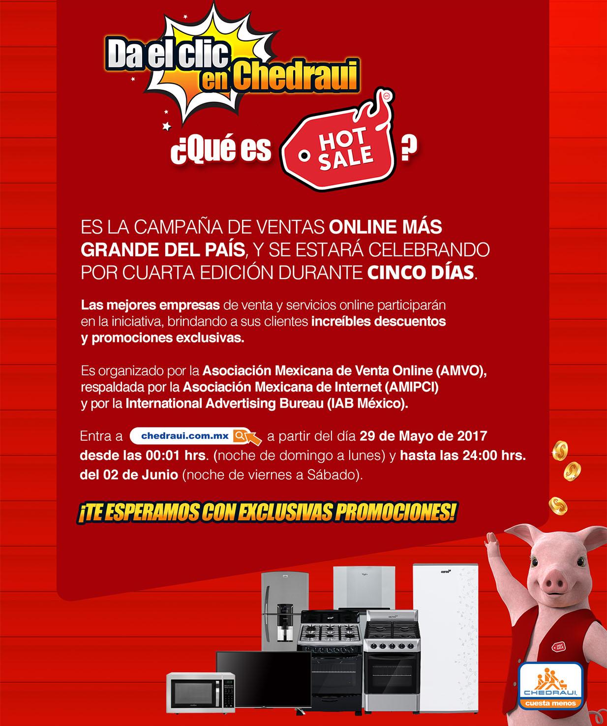 Promoción del Hot Sale 2017 en Chedraui: $250 x cada $1,000 de compra en toda la tienda