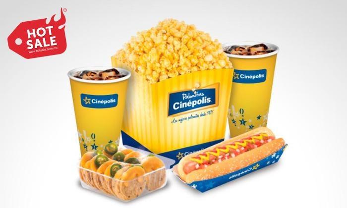 Hot Sale 2017 en Groupon: combos dulceria cinepolis con 10% de descuento (+10% adicional con mercadopago)