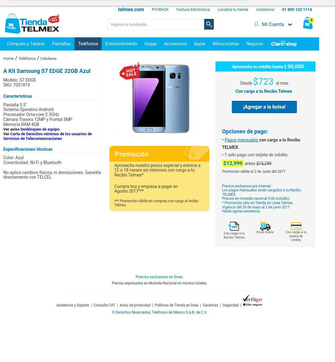 Hot Sale 2017 TIenda Telmex: Samsung S7 edge