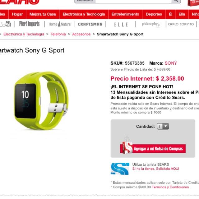 Hot Sale 2017 en Claro Shop: Smartwatch Sony 3
