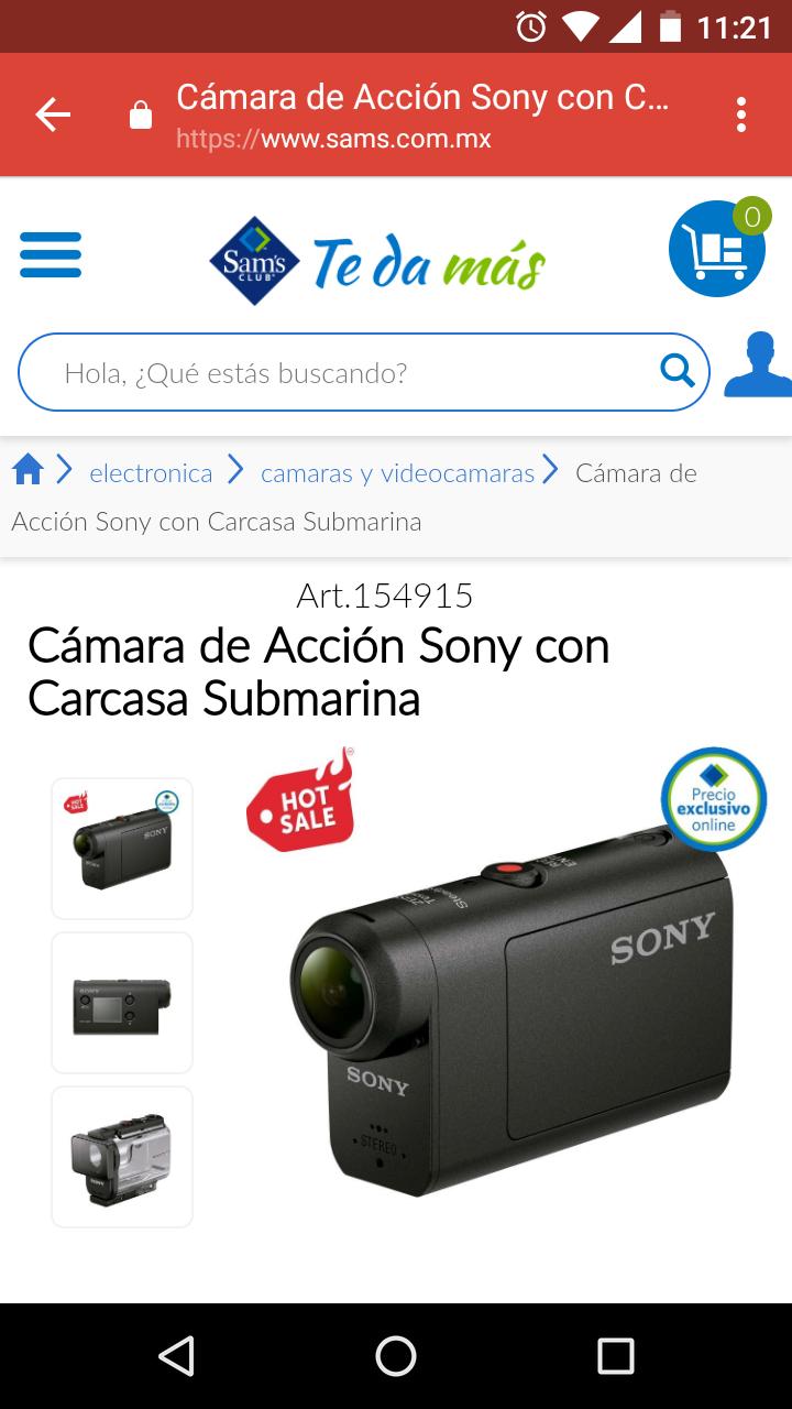 Hot sale SAM'S: cámara de acción Sony  con carcasa sumergible modelo HDR-AS50