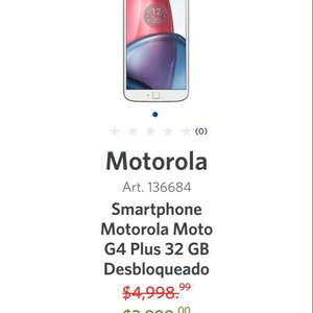 Hot Sale 2017 en Sam's Club: Motorola G4 plus BLANCO
