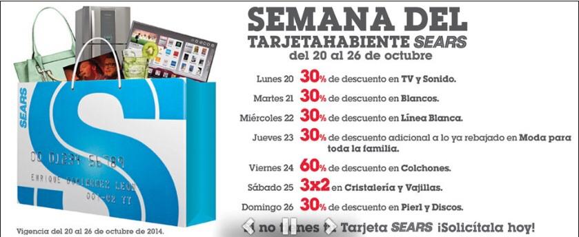 Semana del tarjetahabiente Sears del 20 al 26 de octubre