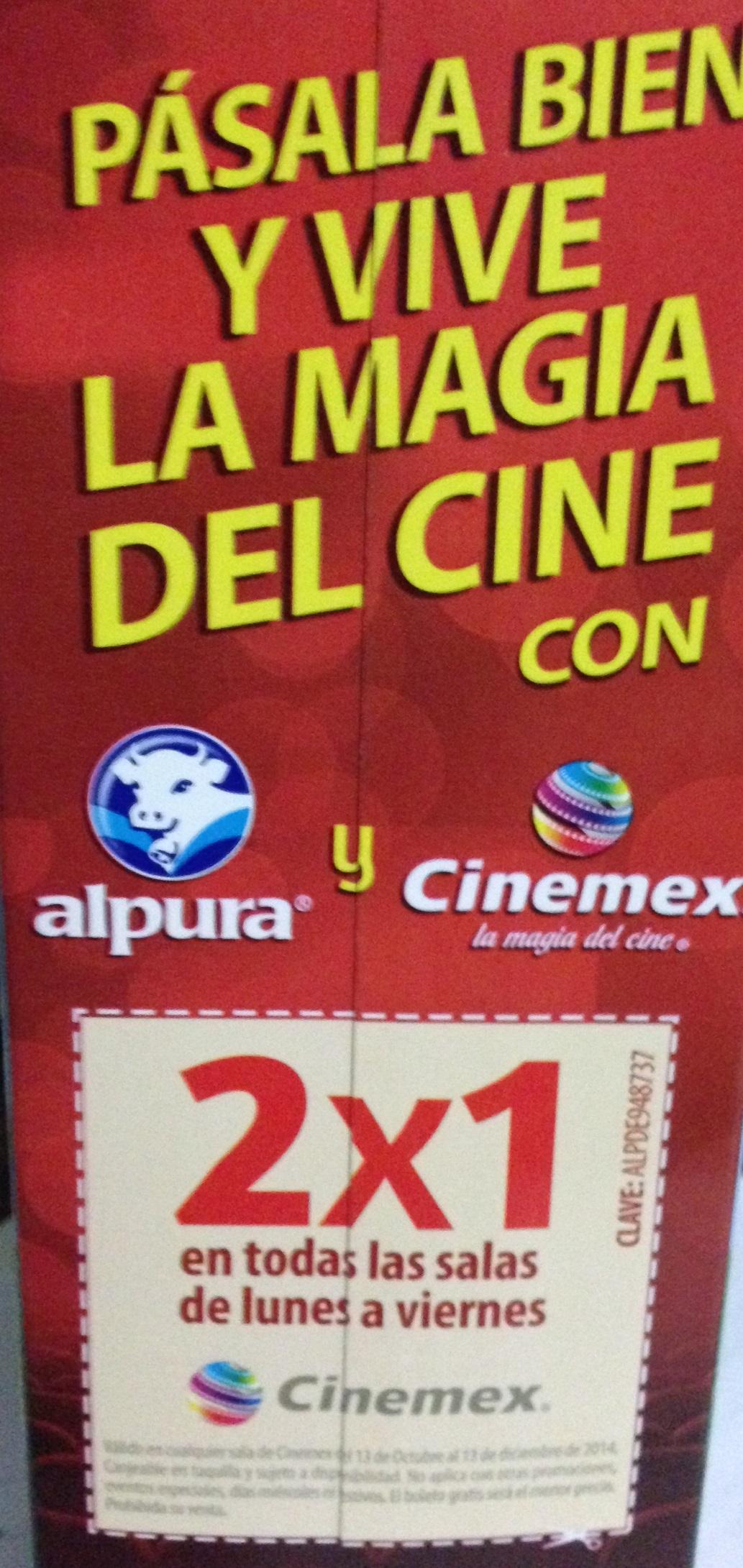 Cinemex: 2x1 lon Leche Alpura