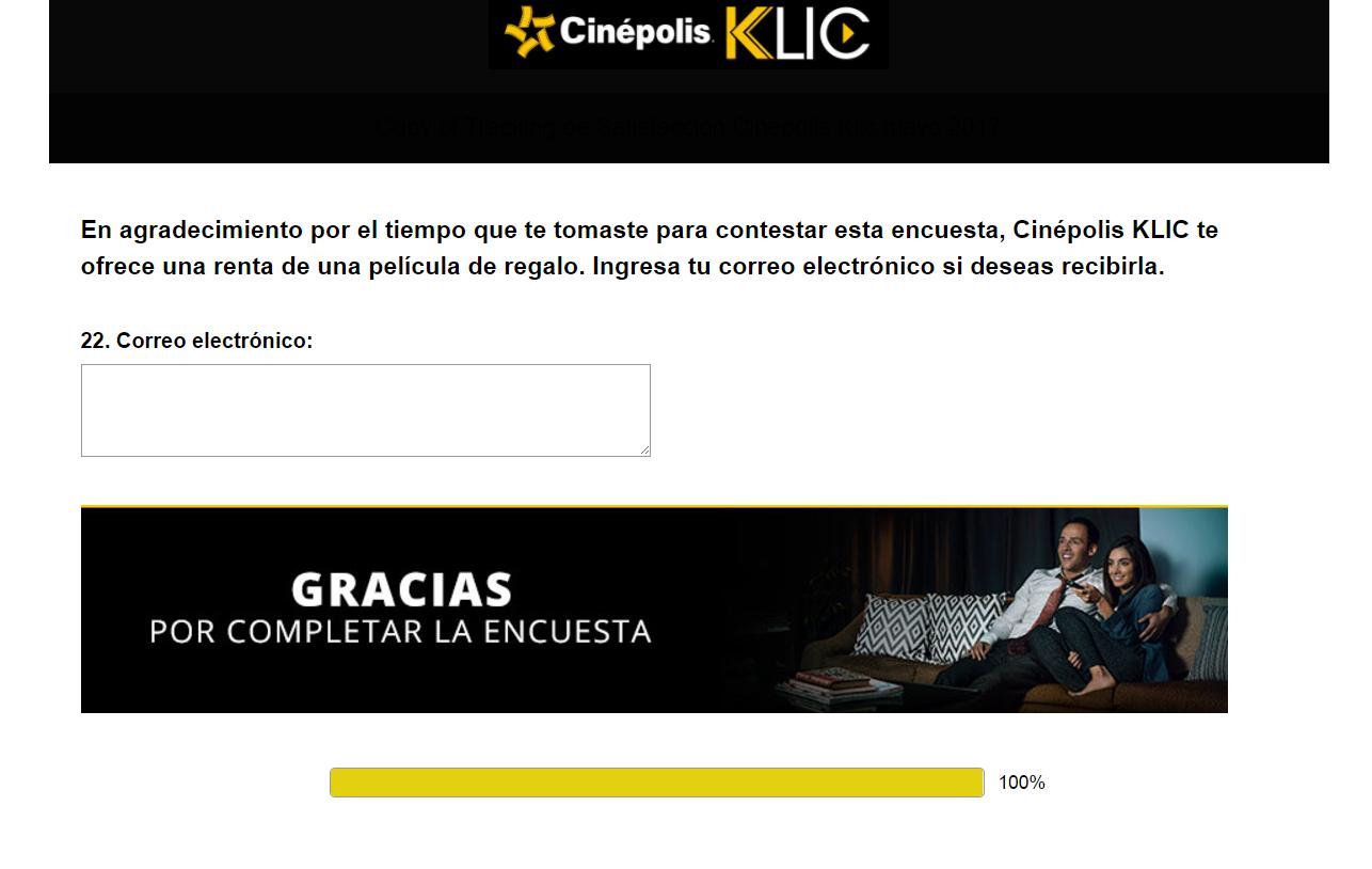 Cinepolis Klic: renta gratis al contestar encuesta