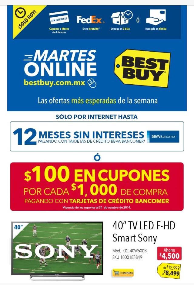 "Best Buy martes online Bancomer: $100 de bonifiación x cada $1,000, LED Smart TV Sony 40"" $8,499"