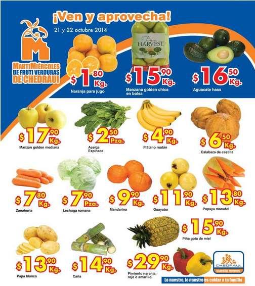 Ofertas de frutas y verduras en Chedraui 21 y 22 de octubre (naranja $1.80 y más)