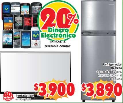 "Mercado Soriana: pantalla LED 40"" $3,990 y 20% de bonificación en celulares"