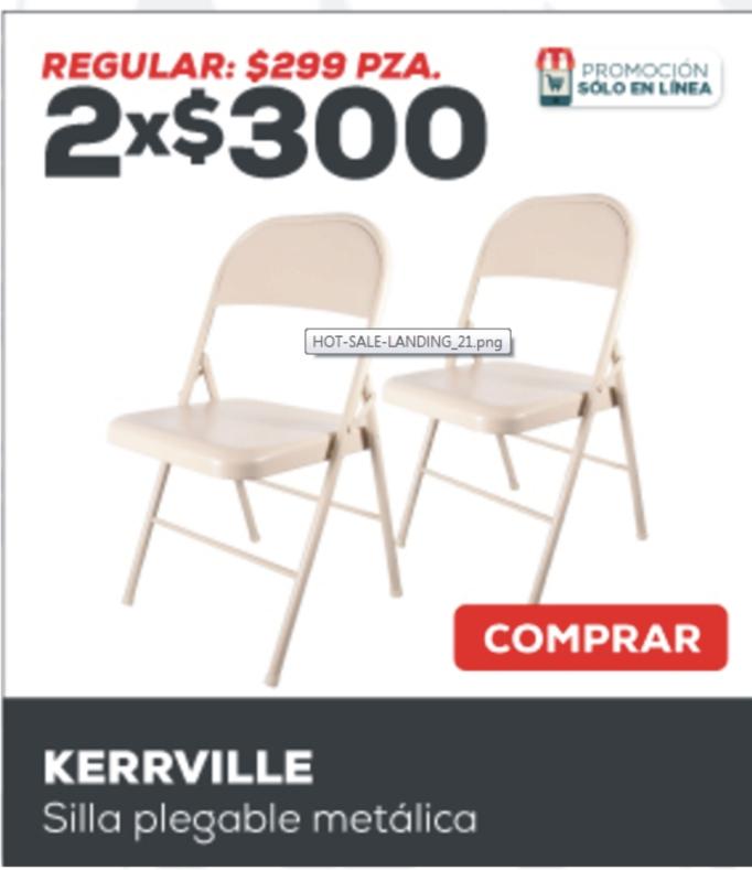 HEB: 4 sillas metalicas $125 c/u usando cupon