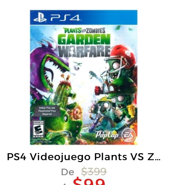 Hot Sale 2017 en Elektra: Plantas vs Zombis Garden Warfare para PS4 a $99