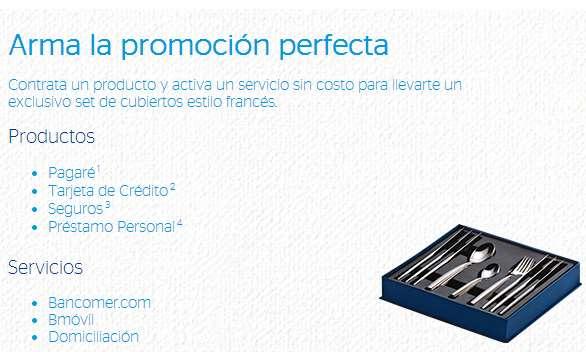 Bancomer: set de cubiertos gratis contratando un producto y activando un servicio