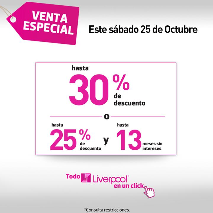 Liverpool: venta especial online octubre 25