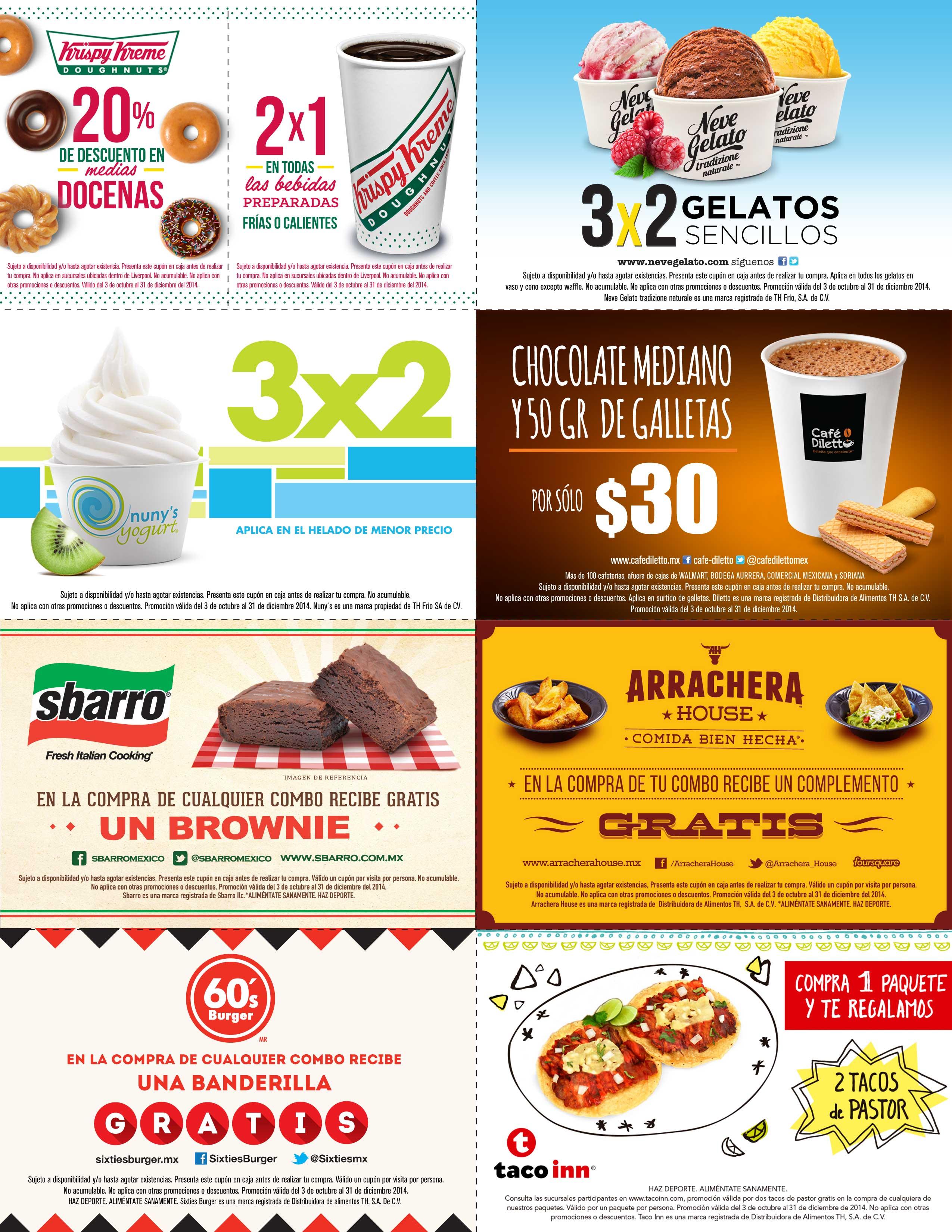 Cupones para Krispy Kreme, Sbarro, 60's Burger, Taco Inn, Neve Gelato y más
