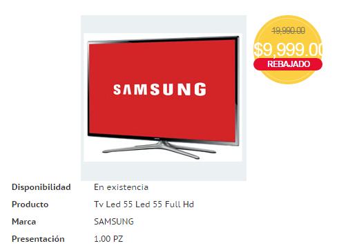 """HEB: Samsung LED 55 """" Serie 6 UN55h6103AF en $9,999 (NL)"""